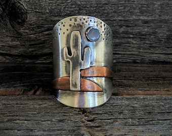 saddle up! series--sterling silver, copper and opal saddle ring--size 6.5