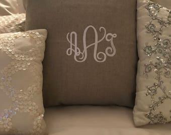 """Linen 17"""" monogrammed pillow"""