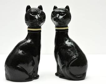 Mid Century  Black Cat Decanter Bottle Set