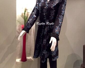 Designer Peplum Tunic Dress Kurti Black Printed Lawn 100% Cotton Ready Made Custom Tailored