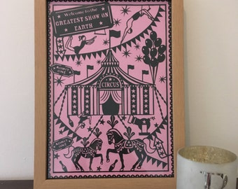 Circus Papercut Paper Cutting Art Home Decor