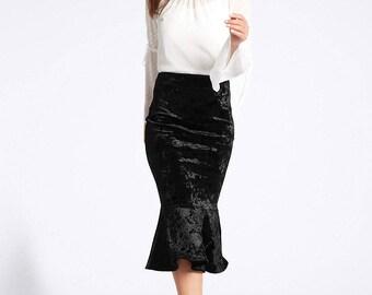 Velvet Fishtail Midi Skirt