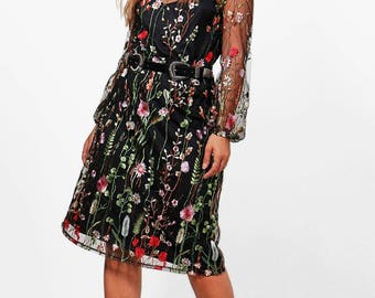 Lace Overlay Floral Embroidery Dress - Heavy Embroidery Midi Dress