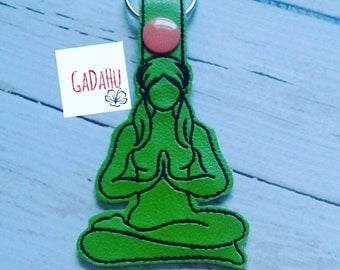 Yoga girl with ponytails Key Fob Snap Tab Embroidery Design 4X4 size