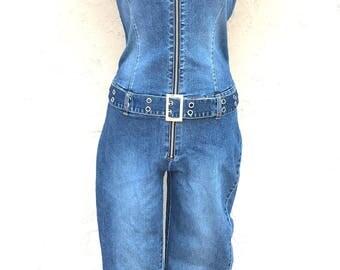 Vintage 90s Denim Jumpsuit/ Zenan Jeans/ Vintage Jumpsuit/ Vintage One Piece/ 70s Style Jumpsuit/ Stretch Denim Jumpsuit