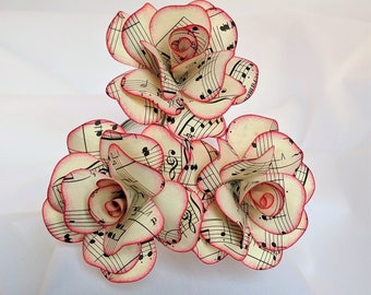 Sheet Music Flowers, Paper Roses, Sheet Music Roses, Book Lovers Gift, Eco Friendly