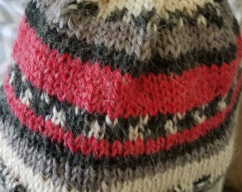 Fingerless gloves with matching adult hat and child's hat