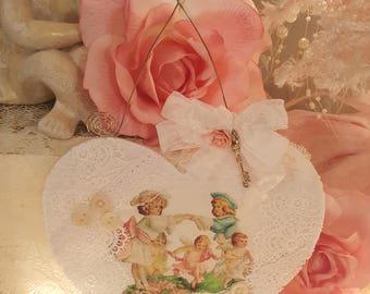 Vintage Felt Valentine Heart Hanger Shabby Chic Cherub White Lace Ornament Romantic Lace Valentine Ornament Pink Roses Victorian Children