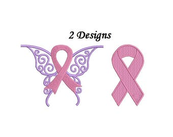 Cancer Ribbon Embroidery Design - 2 designs - Breast cancer awareness embroidery design