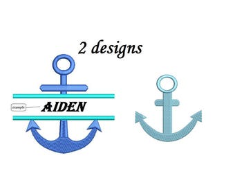 Split Anchor Embroidery Design - 2 designs instant download