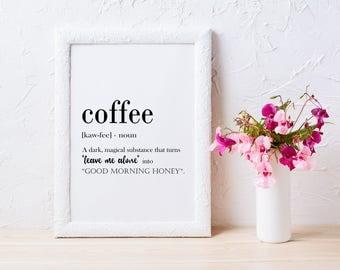 Koffie definitie afdrukbare Wall Art koffie afdrukken koffie Poster grappige koffie citaat koffie afdrukbare koffie minnaar cadeau koffie Wall Art JPG
