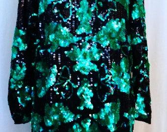 Green Sequined Vintage Dress
