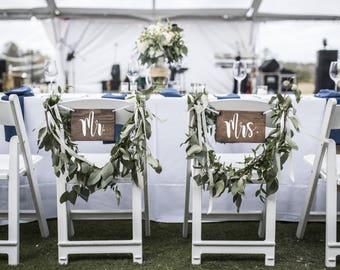 Bride Groom Chair Signs - 2 wooden vinyl signs - Rustic Wedding Wood Sign - Wedding Photo Props - Wedding decor- Engagement