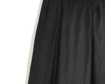 Vintage black pleated skirt / french midi skirt / high waist skirt / minimalist circle skirt / woolen skirt / xxs / xs / 1980s