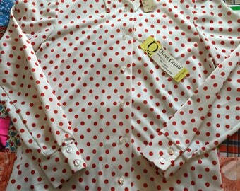 Vintage White Red Polka Dots Dagger Collar Queen Casuals Deadstock Long  Sleeve Polyester Button Up Shirt