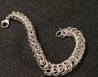 Sterling Silver Fox-tail Chain Maille Bracelet