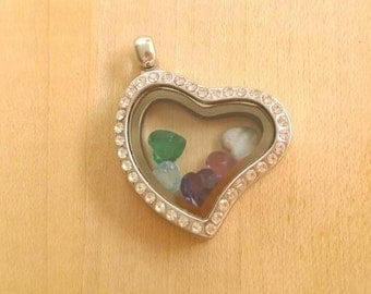 Sparkly Heart Shaped Glass Locket Filled with Birthstones, Faux diamond locket filled with gems, Floating gem locket