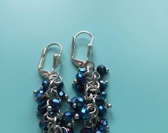 Silver Earrings / Cluster Earrings / Blue Earrings / Dangle Earrings / Gift Wrapped / Statement Earrings / Gift For Her / Bridesmaid Gift