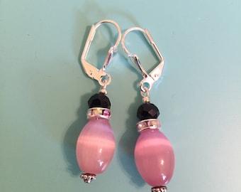 Dangle Earrings / Silver Earrings / Pink Earrings / Drop Earrings / Women's Gift / Boho Earrings / Drop Earrings / Statement Earrings