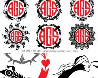 9 Native American Monogram Frames Vector Digital Cut Files Svg Dfx Eps Png Silhouette Cricut Digital Download Vinyl Die Cutting JB-733