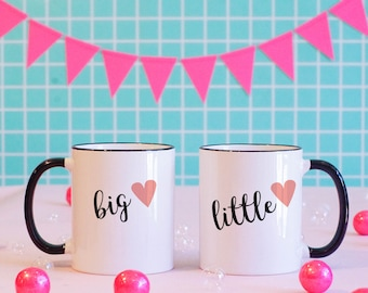 Big and Little Matching Mugs, Sorority, Rush, College, Pledge, Big and Little, Greek Life