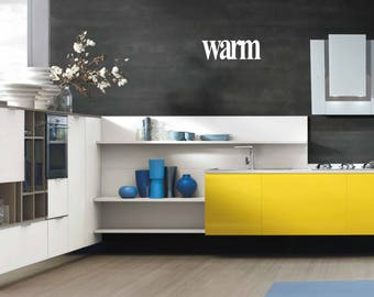Warm- Wall sticker, wall decor, wall art, door sticker, glass sticker, word sticker, wall decal, phrase sticker, phrases, wall word