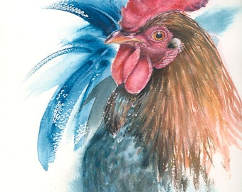 Rooster print of original watercolour painting, size A4, farm animal portrait, chicken art, cottage decor, farmhouse decor, country style