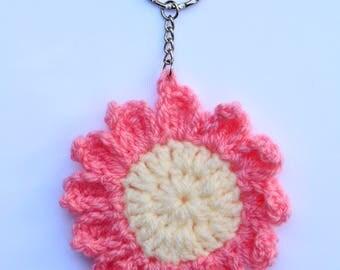 Crocheted pink daisy keyring
