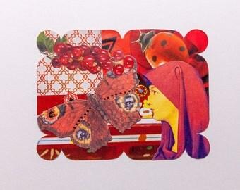 red, original paper collage