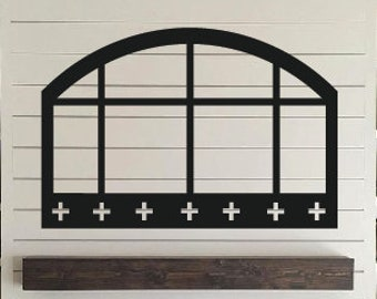 Arched Wooden Cut Out Window