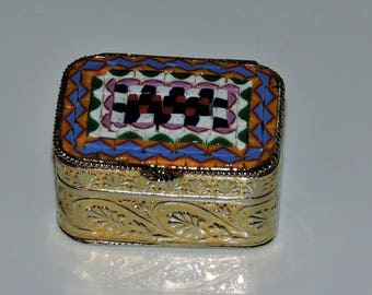 Antique Italian Micro Mosaic Snuff Box Pill Box Gold Gilt