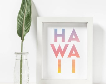 Hawaii Art Print, Hawaiian Decor, Surfer Decor, Hawaiian Print, Sunset Printable, Aloha Decor, Hawaiian Sunset Print, Aloha Print