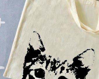 Cat kitten bag print / tote bag / cotton / screenprint / shopping bag / catlovers