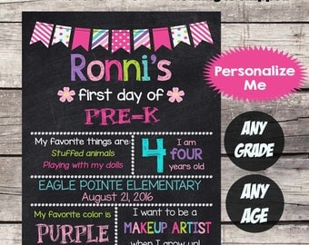 First Day of PRE-K Sign PRESCHOOL School Sign First Day of School Chalkboard Printable Personalized Back to School Sign ANY Grade Any Age #3