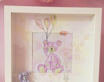 Watercolor, cold porcelain tender Teddy Teddy frame / personalized baby gift / birthstone
