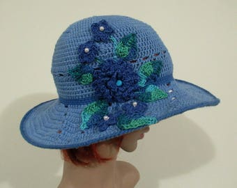 Blue cotton sun hat, women cotton hat with flower motifs, brimmed hat, summer hat, made to order