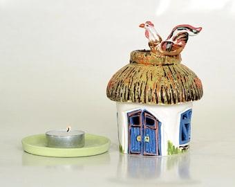 ceramic candle holder aroma lamp decor ukrainian house style home gift lantern fairy house candle luminary