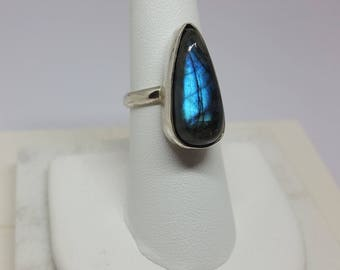 Labradorite Ring, Sterling Silver, Size 7, Blue Flash Stone, 23x11x9 mm, Teardrop Shape, Pear Shape, Gift for her, Jewelry, Birthday gift
