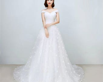 Spring Fairy - Selena Huan off-shoulder Long Tulle Ribbons Ball Gown