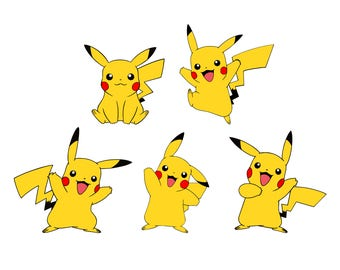 Pikachu svg pokemon svg 3-4 layers svg files for cricut svg files for silhouette vector cut file png dxf eps