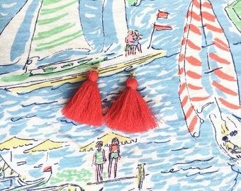 Short Trendy Tassel Earrings, Fringe Tassel Earrings, Red