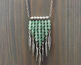 Aventurine and Feather Gemstone Necklace