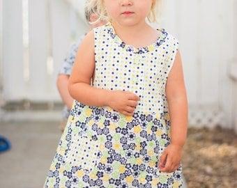 Cotton Dress, Handmade, Size 3 Years, Little Girl, Flower Print, Blue and Yellow, White, Summer Dress, Pockets, Machine Wash, Flowers