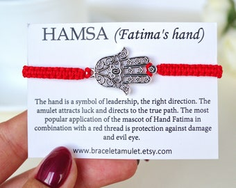 Hamsa hand of fatima Evil eye bracelet best friend bracelet Hamsa jewelry Protection Bracelet Hamsa bracelet Red String Bracelet Kabbalah