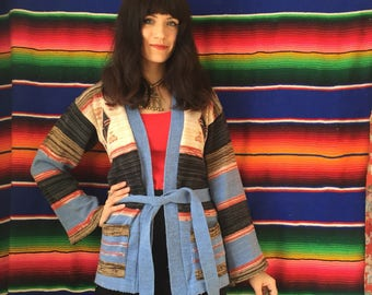 70s Bell Sleeve Space Dyed Belted Hippie Cardigan Sweater Size XS / Small