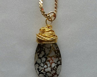 Gold Patina Crystal Necklace