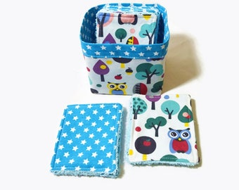 """Cotton washable wipes and sponge, 12 wipes and small sack """"Little owls"""""""