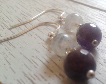 Amethyst and Moonstone Earrings/Handmade/Special Occasion/Gift It