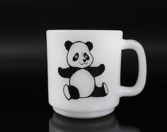 Adorable Panda Bear Milk Glass Mug by Glassbake - vintage