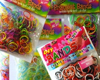 Six Packets of Loom Bands for Loop & Loom Jewellery Makers approx,300 in each packet =1,800 bands in total)+hooks and hook tools